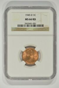 1945 D LINCOLN WHEAT CENT 1C NGC MS66RD RED 3563601 001