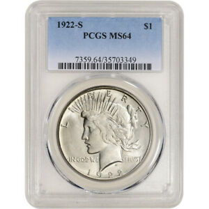 1922 S US PEACE SILVER DOLLAR $1   PCGS MS64
