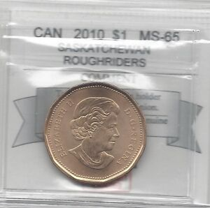 2010 SASK. ROUGHRIDERS COIN MART GRADED CANADIAN LOON $1   MS 65