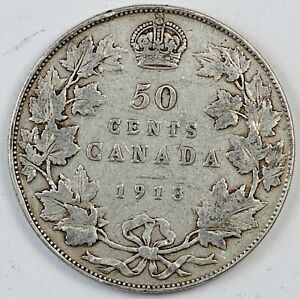 1918 CANADA / CANADIAN FIFTY CENTS HALF DOLLAR   VG GOOD CONDITION
