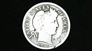 1914 D BARBER DIME   90  SILVER OLD US COIN AVERAGE CIRCULATION