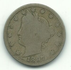 VINTAGE GOOD CONDITION 1897 LIBERTY HEAD V NICKEL COIN OLD US COIN MAY517