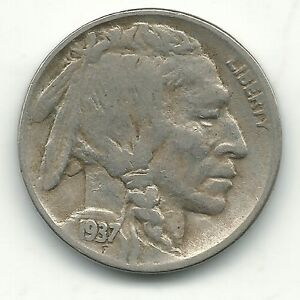 FINE CONDITION MACHINE DOUBLING DATE 1937 D BUFFALO NICKEL COIN SEP133