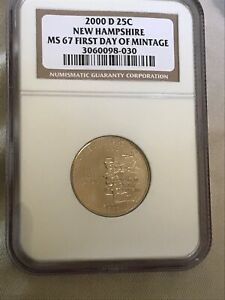 2000 D NEW HAMPSHIRE STATE QUARTER NGC MS67 FIRST DAY OF MINTAGE
