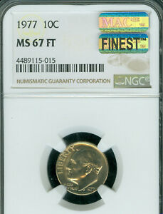 Click now to see the BUY IT NOW Price! 1977 ROOSEVELT DIME NGC MS67 FT POP 2 LY  MAC FINEST MAC SPOTLESS