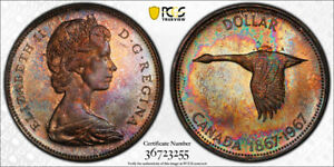 Click now to see the BUY IT NOW Price! 1967 SILVER DOLLAR $1 PCGS MS 66   AMAZING RAINBOW TONES   WOW