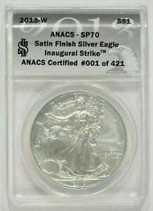 Click now to see the BUY IT NOW Price! 2013 W BURNISHED AMERICAN SILVER EAGLE $1 ANACS SP70 INAUGURAL STRIKE 1 OF 421