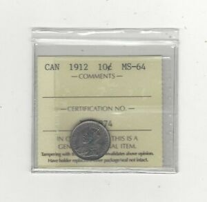1912   ICCS GRADED CANADIAN  10  CENT   MS 64
