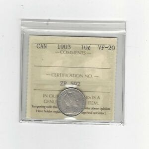 1903 ICCS  GRADED CANADIAN  10  CENT   VF 20