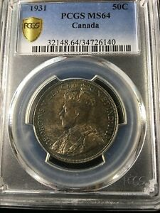 1931 PCGS GRADED CANADIAN SILVER 50 CENT   MS 64