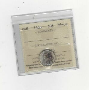 1966 ICCS  GRADED CANADIAN  10  CENT   MS 64