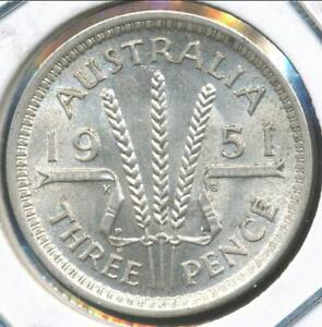 AUSTRALIA 1951 PL  THREEPENCE 3D GEORGE VI  SILVER    ALMOST UNCIRCULATED