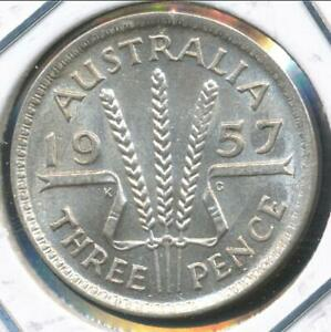 AUSTRALIA 1957 M  THREEPENCE 3D ELIZABETH II  SILVER    ALMOST UNCIRCULATED
