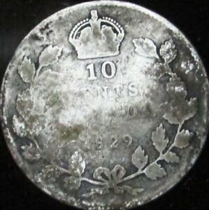 1929 GOOD  DETAILS DIRTY CANADA SILVER 10 CENTS   KM 23A   JG