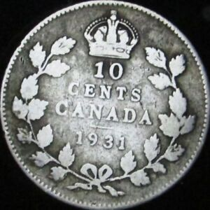 1931 VG  DETAILS DIRTY CANADA SILVER 10 CENTS   KM 23A   JG