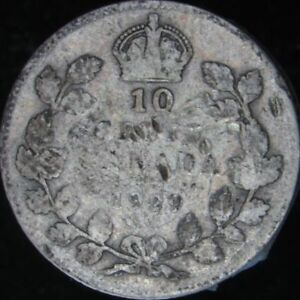 1929 VG DETAILS DINGED CANADA SILVER 10 CENTS   KM 23A   JG