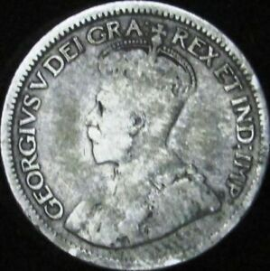 1929 VG  CANADA SILVER 10 CENTS   KM 23A   JG