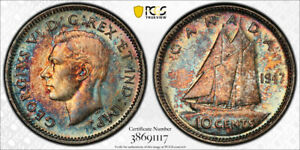 1947 TEN CENTS 10 PCGS MS 65   MULTI COLOR TONES & STRONG LUSTER