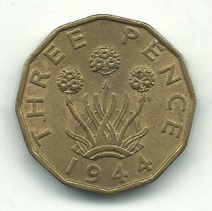 VERY NICE DETAIL HIGH GRADE 1944 AU   GREAT BRITAIN BRASS 3 PENCE COIN MAY252