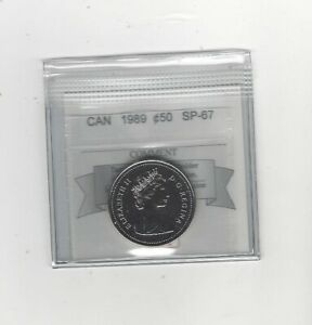 1989  COIN MART GRADED CANADIAN  50 CENT   SP 67