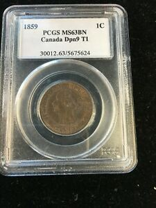 Click now to see the BUY IT NOW Price! 1859 N9  DPN1  PCGS GRADED CANADIAN LARGE ONE CENT   MS 63