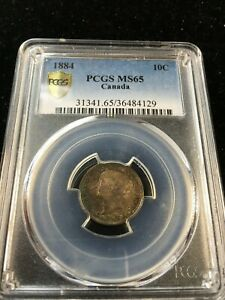 Click now to see the BUY IT NOW Price! 1884   PCGS GRADED CANADIAN  10 CENT   MS 65  WOW