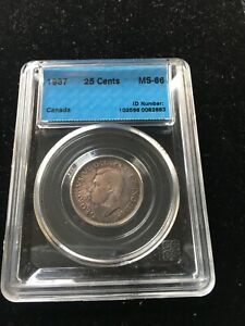 1937  CCCS GRADED CANADIAN 25 CENT   MS 66