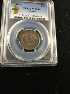 Click now to see the BUY IT NOW Price! 1881H   PCGS GRADED CANADIAN 25 CENT   MS 64