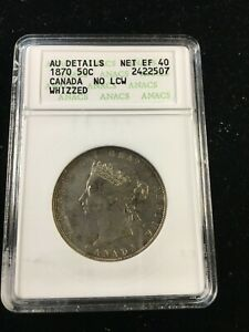 Click now to see the BUY IT NOW Price! 1870 NO LCW ANACS GRADED CANADIAN 50 CENT   AU 50 DETAILS / EF 40 NET