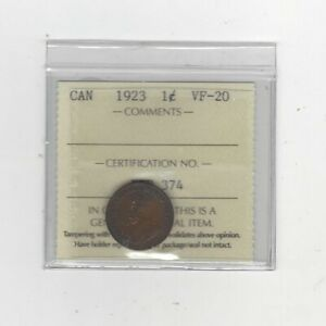 1923  ICCS GRADED CANADIAN SMALL ONE CENT   VF 20