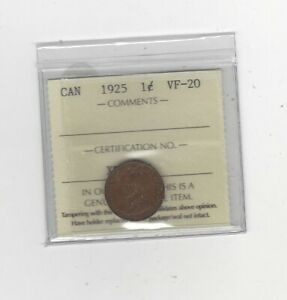 1925  ICCS GRADED CANADIAN SMALL ONE CENT   VF 20
