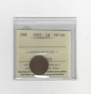 1925  ICCS GRADED CANADIAN SMALL ONE CENT   VF 30