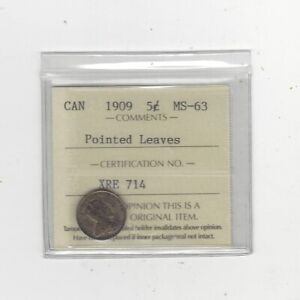 Click now to see the BUY IT NOW Price! 1909  POINTED LEAVES  ICCS GRADED CANADIAN  5 CENT   MS 63