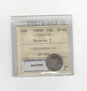 Click now to see the BUY IT NOW Price! 1880H OBV2  ICCS  GRADED CANADIAN  10  CENT   SP 65