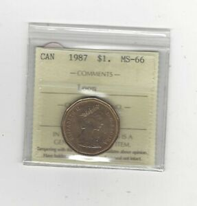 1987  ICCS GRADED CANADIAN LOON ONE DOLLAR   MS 66
