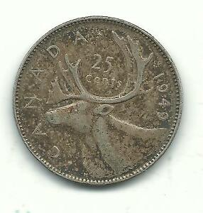 VERY NICE HIGHER GRADE VINTAGE 1949 CANADA 25 CENTS SILVER COIN JAN616