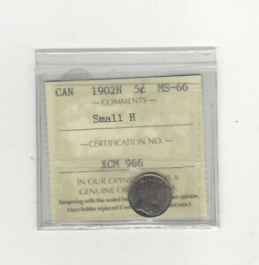Click now to see the BUY IT NOW Price! 1902H SMALL H  ICCS GRADED CANADIAN  5 CENT   MS 66