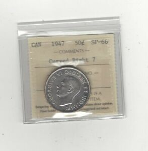 Click now to see the BUY IT NOW Price! 1947 CURVED RIGHT  WD    ICCS GRADED CANADIAN SILVER 50 CENT   SP 66