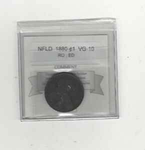 1880  RO;ED COIN MART GRADED NEWFOUNDLAND LARGE CENT   VG 10