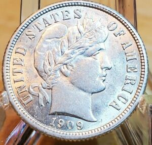1909 BARBER DIME FROSTY GEM BU PQ LUSTROUS UNCIRCULATED MS