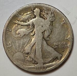 1917 S OBVERSE WALKING LIBERTY SILVER HALF DOLLAR LOW MINTAGE ONLY 952 000