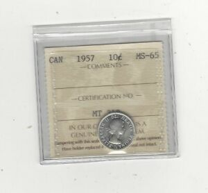 1957  ICCS  GRADED CANADIAN  10  CENT   MS 65