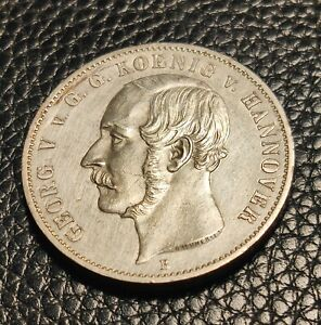 1855 GERMANY GERMAN STATES HANNOVER GEORGE V SILVER THALER COIN KM220