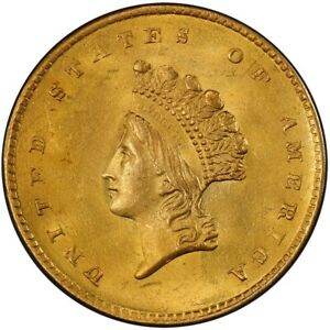 1855 G$1 GOLD DOLLAR PCGS MS63