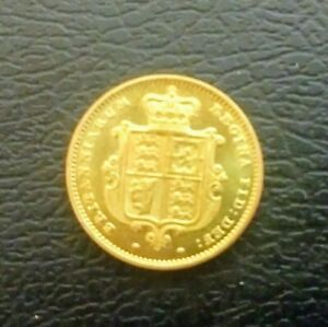 NICE  Q.VICTORIA 1859 YOUNG HEAD  GOLD PLATED HALF SOVEREIGN IN UNC