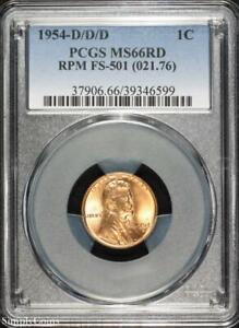 1954 D/D/D RPM FS 501 LINCOLN WHEAT PENNY CENT   PCGS MS66 RD RED   P3 6599