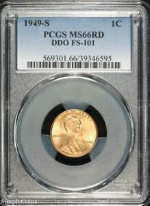 1949 S DDO FS 101 LINCOLN WHEAT PENNY CENT   PCGS MS66 RD RED   P3 6595