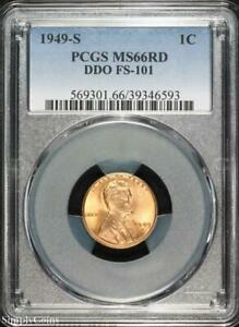 1949 S DDO FS 101 LINCOLN WHEAT PENNY CENT   PCGS MS66 RD RED   P3 6593