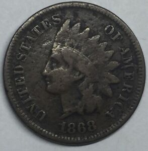 1868 INDIAN HEAD CENT PENNY BETTER DATE COLLECTOR COIN. PARTIAL LIBERTY