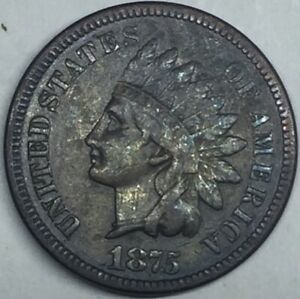 1875 INDIAN HEAD CENT. FULL LIBERTY. NICE COLOR